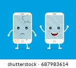old sad broken phone with... | Shutterstock .eps vector #687983614