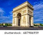 paris arc de triomphe ... | Shutterstock . vector #687986959