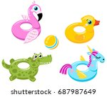 flamingo lifebuoys  duck ... | Shutterstock .eps vector #687987649
