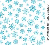 snowflake simple seamless... | Shutterstock .eps vector #687988330