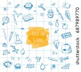 back to school. hand drawn... | Shutterstock .eps vector #687989770