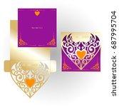 golden cutout envelope and...   Shutterstock .eps vector #687995704