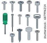 vector set of screw and... | Shutterstock .eps vector #687996214