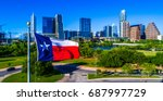 atx city skyline texas flag... | Shutterstock . vector #687997729