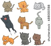 vector set of cats | Shutterstock .eps vector #688000588