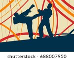 taekwondo fight man vector... | Shutterstock .eps vector #688007950
