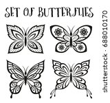 set butterflies monochrome...