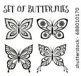 Set Butterflies Monochrome...
