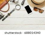 top view   flat lay accessories ... | Shutterstock . vector #688014340