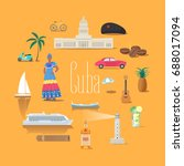 set of icons with cuban... | Shutterstock .eps vector #688017094
