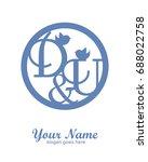 d u initial wedding decorative... | Shutterstock .eps vector #688022758
