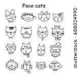 cute cat heads set doodle. pet... | Shutterstock .eps vector #688024990