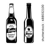 beer bottle. alcohol drink... | Shutterstock .eps vector #688032100