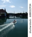 Small photo of Boat on the Aare river, Solothurn, Switzerland