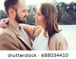 young happy loving couple... | Shutterstock . vector #688034410