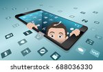 minimalist smartphone with the... | Shutterstock .eps vector #688036330