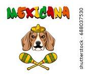 cute mexican beagle dog  ... | Shutterstock .eps vector #688037530