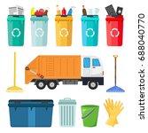 big set of garbage sorting bins ... | Shutterstock .eps vector #688040770