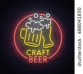 beer neon sign  bright... | Shutterstock .eps vector #688041850