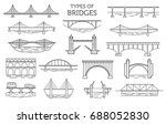 types of bridges. linear style... | Shutterstock .eps vector #688052830