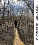 rear view of man walking on a... | Shutterstock . vector #688055668