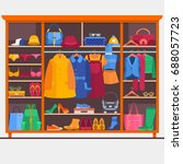 wardrobe room full of woman s...   Shutterstock .eps vector #688057723
