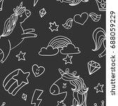 fancy charcoal style doodle... | Shutterstock .eps vector #688059229