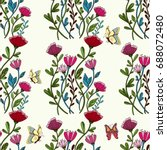 seamless white pattern with... | Shutterstock .eps vector #688072480