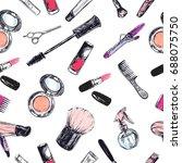 seamless pattern. beauty and... | Shutterstock . vector #688075750