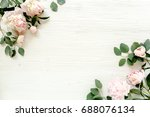 border frame made of pink and... | Shutterstock . vector #688076134