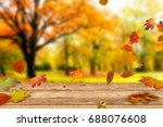 wooden table in front of a... | Shutterstock . vector #688076608