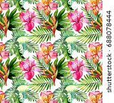 watercolor pattern with exotic... | Shutterstock . vector #688078444