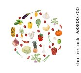 vegetables and fruits isolated... | Shutterstock .eps vector #688083700