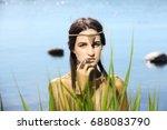 egyptian queen goddess.... | Shutterstock . vector #688083790