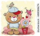greeting card cute cartoon... | Shutterstock .eps vector #688088674