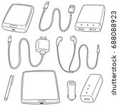 vector set of mobile device... | Shutterstock .eps vector #688088923