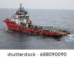 supply boat transfer cargo to... | Shutterstock . vector #688090090