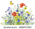 hand drawn wild flowers and... | Shutterstock . vector #688091983