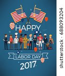 happy american labor day poster ... | Shutterstock .eps vector #688093204
