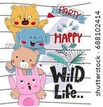 happy cartoon cute of wild... | Shutterstock .eps vector #688102414