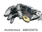 robotic arm taking bitcoin... | Shutterstock . vector #688103476