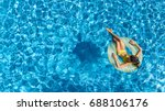 Aerial View Of Girl In Swimming ...