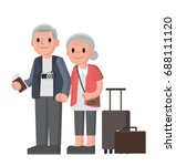 elderly couple of tourists.... | Shutterstock .eps vector #688111120