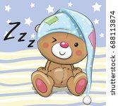 sleeping cute teddy bear in a... | Shutterstock .eps vector #688113874