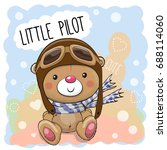 cute cartoon teddy bear in a... | Shutterstock .eps vector #688114060