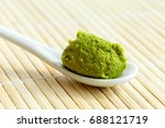 wasabi paste on ceramic spoon... | Shutterstock . vector #688121719