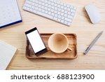 smart phone addiction concept... | Shutterstock . vector #688123900