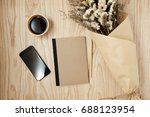 notebook and smart phone with... | Shutterstock . vector #688123954
