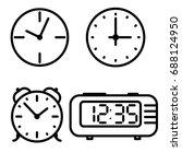 flat line art clock icons set | Shutterstock .eps vector #688124950