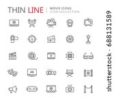 collection of movie thin line... | Shutterstock .eps vector #688131589
